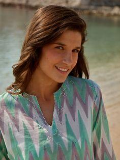 Neck detail from La Mandarine beachwear's 2015 Capri dress Buy now at www.lamandarine.co.uk