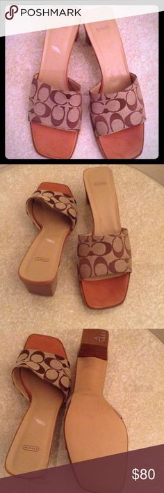 COACH MARCIA Sandals/Slides/ Shoes S 10 NWOB COACH MARCIA fabric and leather Sandals, Slides, Shoes. New!!! Size 10B.Fabric upper, leather soles and footbed. Coach Shoes Sandals