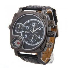 [$14.99] Quartz Wrist Watch Leather Band 2 Movements Time Zones  Men black