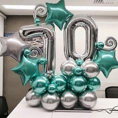 birthday for him ideas Balloon Arrangements, Balloon Centerpieces, Centerpiece Decorations, Birthday Balloon Decorations, Birthday Balloons, Baby Shower Decorations, Large Balloons, Number Balloons, Balloon Columns