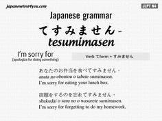 Tesumimasen. -- Japan, Japanese words, vocabulary, learning different languages, infographic, sentence examples, everyday phrases, communication