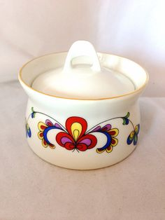 Porsgrund Farmer's Rose Fine Bone China Floral Covered Sugar Bowl with handle - red blue white yellow - Modern Rosemaling Norway - Demitasse on Etsy, $25.00