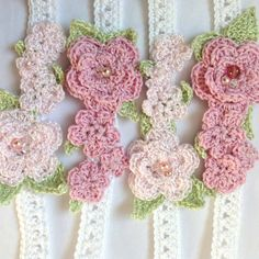 Shades of pink - crocheted headbands - perfect for little flower girls and weddings