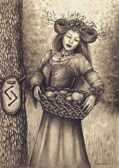 ✯Most likey Sif ~the Norse Goddess of harvest~ with  corresponding Rune  Jera,  ~ Ink and Graphite✯