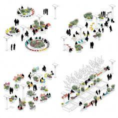 + atelier starzak strebicki + laura muyldermans turn brussels' esplanade into a public, social space Architecture Concept Diagram, Architecture Presentation Board, Architecture Collage, Landscape Architecture Design, Architecture Graphics, Architecture Diagrams, Interior Architecture, Urban Design Concept, Urban Design Diagram
