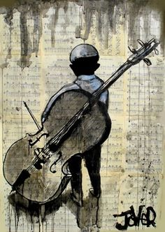 """Saatchi Online Artist Loui Jover; Drawing, """"boy and cello"""" #art"""