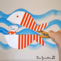 Le poisson d'avril sur pince à linge {bricolage du mercredi} | Les Griottes Papotent...