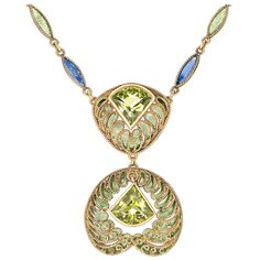 Louis Comfort Tiffany Enamel Peridot Gold Filigree Necklace   From a unique collection of vintage drop necklaces at https://www.1stdibs.com/jewelry/necklaces/drop-necklaces/