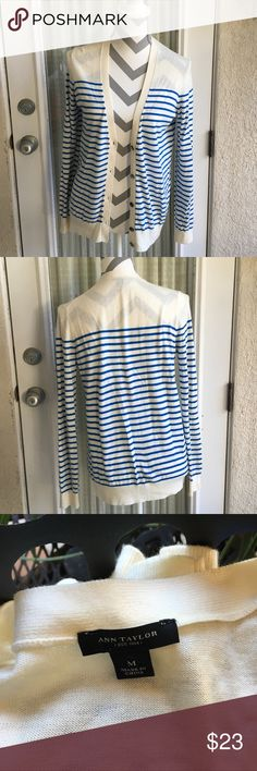 Ann Taylor Off White & Blue Cardigan Ann Taylor brand size medium off white and blue striped cardigan. Bust is 42 inches length is 26 inches. 42% rayon 31% nylon 23% polyester 4% wool. In excellent condition. Ann Taylor Sweaters Cardigans