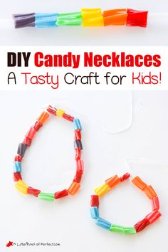DIY Candy Necklace Kits for Kids-A Tasty way to practice fine motor skills, wear candy beads don't melt, perfect for road trips Candy Bracelet, Candy Necklaces, Candy Jewelry, Preschool Crafts, Fun Crafts, Crafts For Kids, Candy Craze, Body Jewelry Shop, Colorful Candy