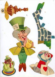 TODORECORTABLES SUEÑOS DE PAPEL: RECORTABLES DE CUENTOS Vintage Printable, Paper Dolls Printable, Mad Hatter Party, Mad Hatter Tea, Paper Toys, Paper Crafts, Alice Tea Party, Alice In Wonderland Tea Party, Vintage Paper Dolls