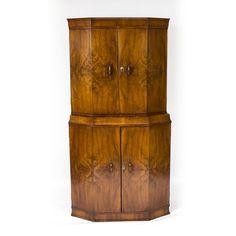A fantastic antique Art Deco burr walnut cocktail cabinet, circa 1925.