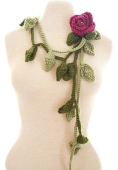 Crochet Rose Fuschia Pink Lariat Necklace Scarf