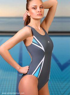 Silver one-piece sport bathing suit
