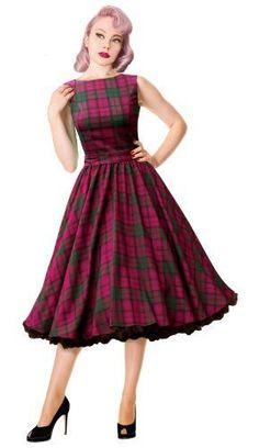 Lindsay Purple Tartan Swing Dress Vintage Rockabilly Pin Up… Pin Up Dresses, Stylish Dresses, Cute Dresses, Beautiful Dresses, Vintage Dresses, Vintage Outfits, Dress Up, Fashion Dresses, Vintage Fashion