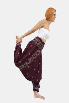 Solid Mulberry Paisley Thai Harem Pants Women Jumpsuit