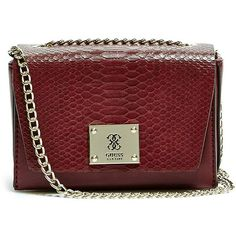 GUESS Angela Mini Cross-Body ($68) ❤ liked on Polyvore featuring bags, handbags, shoulder bags, claret, crossbody handbags, leather purse, guess crossbody, leather cross body purse and leather crossbody purse