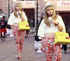 Cropped Top, Forever 21 Floral Pants, Kandee Cherry Twist, Hermës Birkin Bag