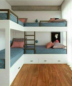 Bunkhouse Plans 444800900697053162 - Casa Fazenda Boa Vista – Picture gallery Source by Room Design Bedroom, Small Room Bedroom, Home Room Design, Home Bedroom, Kids Bedroom, Corner Bunk Beds, Bunk Bed Rooms, Bunk Beds Built In, Four Bunk Beds