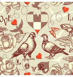 Love birds seamless pattern vector - by Danussa on VectorStock®