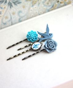 Shabby Blue Flower Bobby Pins, Floral Hair Accessories, Flying Bird, Dusty Blue Rose,  Turquoise Blue, Floral Blue, Set of Four (4)