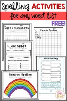 5 FREE Spelling Activities Free spelling activities perfect for any spelling or sight word word work center! Free spelling activities perfect for any word work center! Spelling Word Activities, Spelling Word Practice, First Grade Spelling, Word Study Activities, Spelling And Handwriting, Spelling Homework, First Grade Words, Spelling Worksheets, Spelling Words
