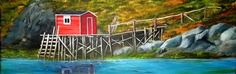 Burin Fishing Stage. Acrylic painting 12x36