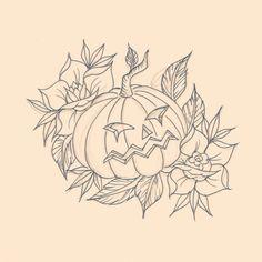 Old school Halloween pumpkin, tattoo flash  Www.facebook.com/lhptattoo