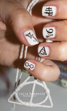 White Harry Potter Nail Design
