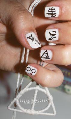 White Harry Potter Nail Design