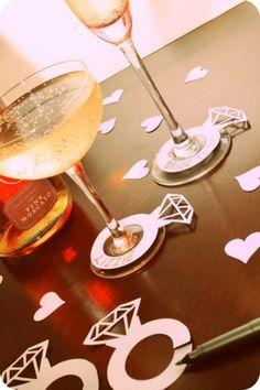 cute idea for champagne or wine glasses??