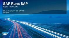 SAP runs SAP Innovation presentation at the 2012 Fujitsu Forum in Munich by Oliver Bussmann, Corporate Officer and Global CIO at SAP. Munich, Innovation, Presentation, Running