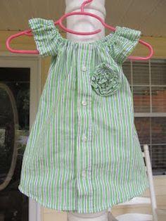 Shirt Refashion ~ sew a little girls dress from a boys shirt!