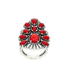 This Red Coral & Sterling Silver Coral Tapered Cluster Ring is perfect! #zulilyfinds