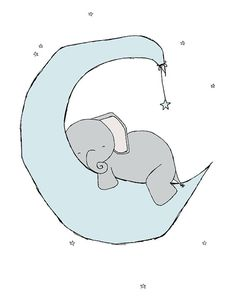 Elephant Nursery Art Blue and Grey Nursery by SweetMelodyDesigns
