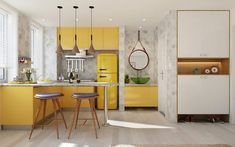 Kitchen ideas yellow cabinets white gray colors yellow kitchen ideas – design techniques for bright and sunny interiors Yellow Kitchen Decor, Red Kitchen, Kitchen Colors, Kitchen Interior, Kitchen Ideas, Yellow Kitchens, Kitchen Trends, L Shaped Kitchen Designs, U Shaped Kitchen