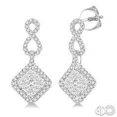 3/4 Ctw Princess Cut Diamond Lovebright Earrings in 14K White Gold