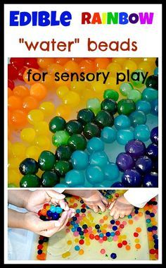 Try this fun new 100% edible sensory element for water beads- like sensory play. Great for kids who tend to eat out of their sensory bins :) #sensoryactivities