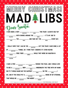 Christmas Mad Libs Printable : Christmas Mad Libs Printable – This free Christmas Mad Libs printable is fun for kids of all ages (and grown-ups, too! Great for teachers in the classroom, holiday parties, playgroups, and more! Fun Christmas Games, Merry Christmas, Holiday Games, Christmas Activities, Christmas Printables, Christmas Traditions, Family Christmas, Winter Christmas, Holiday Fun