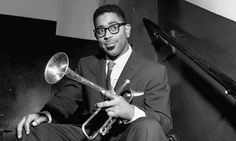 A portrait of trumpeter Dizzy Gillespie with his distinctive trumpet. He was known for his influence on the popular bebop style of jazz. Yusef Lateef, Bebop, Jazz Trumpet, Dizzy Gillespie, Jazz Standard, Blues, Shadow Warrior, Louis Armstrong, Miles Davis