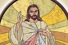 The Good Shepherd - Jesus La Passion Du Christ, The Good Shepherd, Divine Mercy, Quilting Tips, Stained Glass, Watercolor, Painting, Scrappy Quilts, Pen And Wash