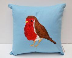Hand Embroidered Robin Cushion £50.00