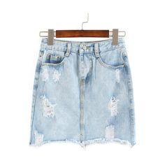 SheIn(sheinside) Ripped Pockets Denim Skirt (265 MXN) ❤ liked on Polyvore featuring skirts, blue, pocket skirt, blue bodycon skirt, ripped skirt, bodycon skirt and body con skirt