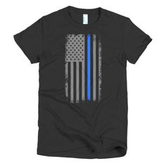 Vertical Blue line American Flag Short sleeve women's t-shirt