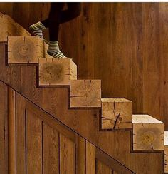 Exposed timber beam staircase