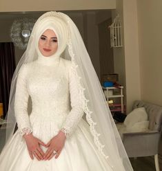 muslim wedding dresses with sleeves and hijab Wedding Hijab Styles, Muslim Wedding Dresses, Muslim Brides, Dress Wedding, Muslim Girls, Muslim Fashion, Hijab Fashion, Indian Fashion, Fashion Dresses