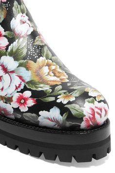 Alexander McQueen - Embroidered Printed Leather Chelsea Boots - Pink - IT36.5