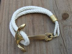 Rope Brass Anchor Bracelet by theiheartboutique on Etsy, $20.00