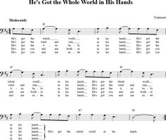 He's Got the Whole World in His Hands Bass Clef Sheet Music