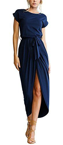 Yidarton Sommerkleid Damen Shirt Kleider Lang Strandkleid Beach Kleid Partykleid Elegant Maxikleid (M Blau) Casual Dresses, Fashion Dresses, Short Sleeve Dresses, Women's Casual, Short Sleeves, Blue Dress Casual, Fashion Shorts, Beach Casual, Burgundy Dress